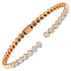 14 Karat Gold Diamond Open Bangle Bracelet