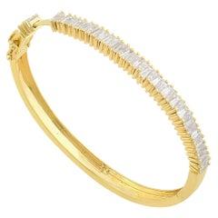 2.45 Carat Baguette Diamond 14 Karat Gold Bangle Bracelet