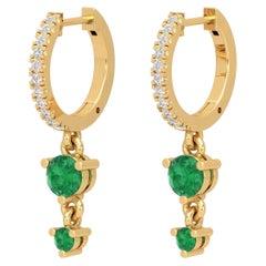 Double Drop Emerald 14 Karat Gold Diamond Huggie Hoop Earrings