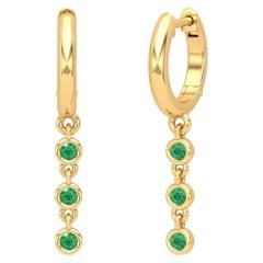 Triple Drop Emerald 14 Karat Gold Huggie Hoop Earrings