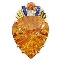 Citrine with Diamond, Yellow Sapphire and Blue Sapphire Pendant in 18 Karat Gold