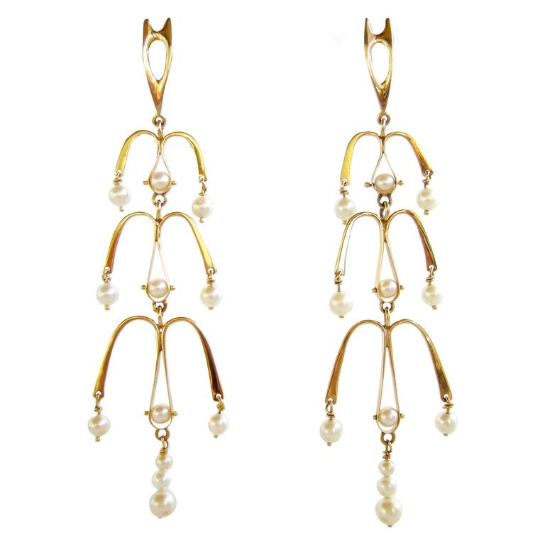 Ed Wiener Pearl Gold Chandelier Earrings For Sale