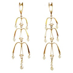 Ed Wiener Gold Pearl Kinetic American Modernist Chandelier Earrings