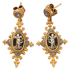 Gold and Micro Mosaics 19th Century Earrings