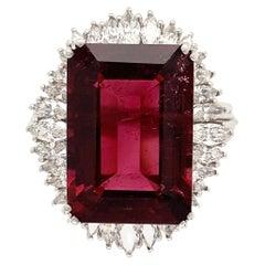 12.78 Carat Rubelite Tourmaline and Diamond Gold Ring Estate Fine Jewelry