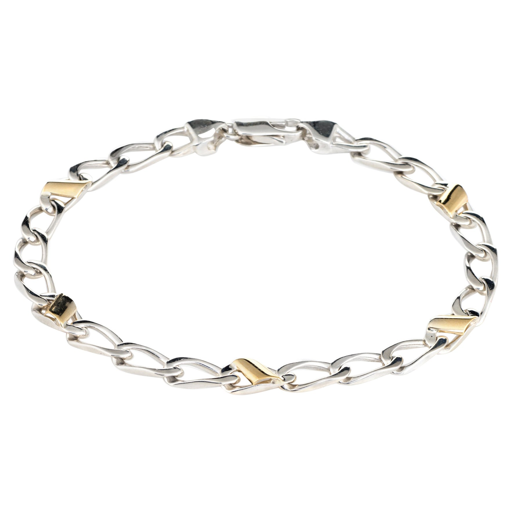 Tiffany & Co Bracelet Vintage Sterling Silver 18k Yellow Gold Curb