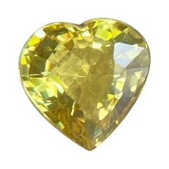 Fine Vivid Yellow Australian Sapphire 0.63ct Heart Cut Untreated Gem