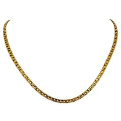 14 Karat Yellow Gold Solid Squared Curb Link Chain Necklace, Italy