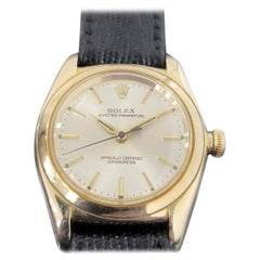 Mens Rolex Oyster Perpetual 3131 14k Gold Automatic 1940s Vintage RA221