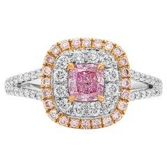 GIA 0.50 Carat Pink Diamond Ring 18 Karat White and Rose Gold