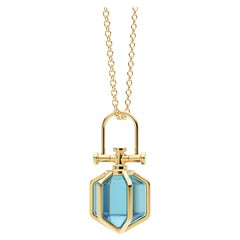 Modern Sacred 18k Solid Yellow Gold Talisman Pendant Necklace with Blue Topaz
