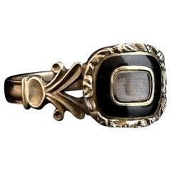 Antique Georgian Mourning Ring, 12 Karat Gold, Black Enamel and Hairwork