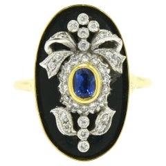 Antique Edwardian Sapphire Onyx Diamond Bow Cocktail Ring Gold Platinum Garland