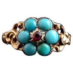 Antique Georgian Mourning Ring, Turquoise and Ruby, 22kt Yellow Gold and Silver