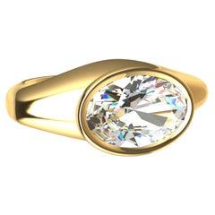 18 Karat Yellow Gold 1.6 Carat GIA Diamond Sculpture Ring