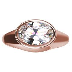 18 Karat Rose Gold 1.6 Carat GIA Diamond Sculpture Ring