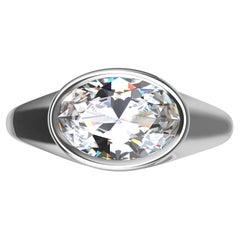 18 Karat White Gold 1.6 Carat GIA Diamond Sculpture Ring