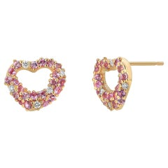 Pink Sapphires and Diamond Heart Shape Rose Gold Stud Earrings