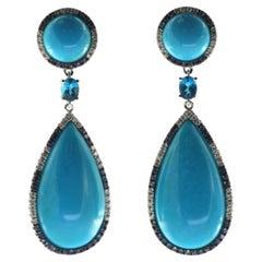 Sleeping Beauty Turquoise Diamond Sapphire Dangle Drop Earring in 18 Karat Gold
