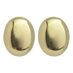 18 Karat Yellow Gold Italian Oval Ear Clips