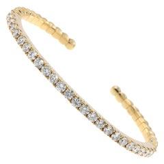 2.65 Carat Diamond Yellow Gold Stacking Bangle Bracelet in 18 Karat Gold