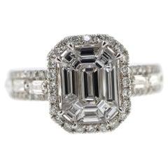 1.10 Carat Illusion Setting Diamond Ring in 18 Karat White Gold