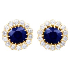 7.05Ct Sapphire and 2.31Ct Diamond Yellow Gold Cluster Earrings, Circa 1930