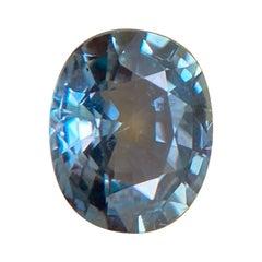 0.95ct Vivid Green Blue Sapphire Untreated Oval Cut Rare Gem