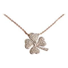 10k 14k 18k Gold Diamond Clover Charm Necklace Lucky Clover Diamond Necklace