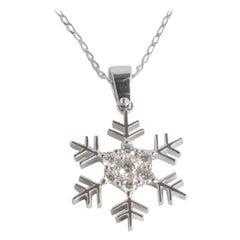 10k 14k 18k Snowflake Diamond Pendant Christmas Jewelry