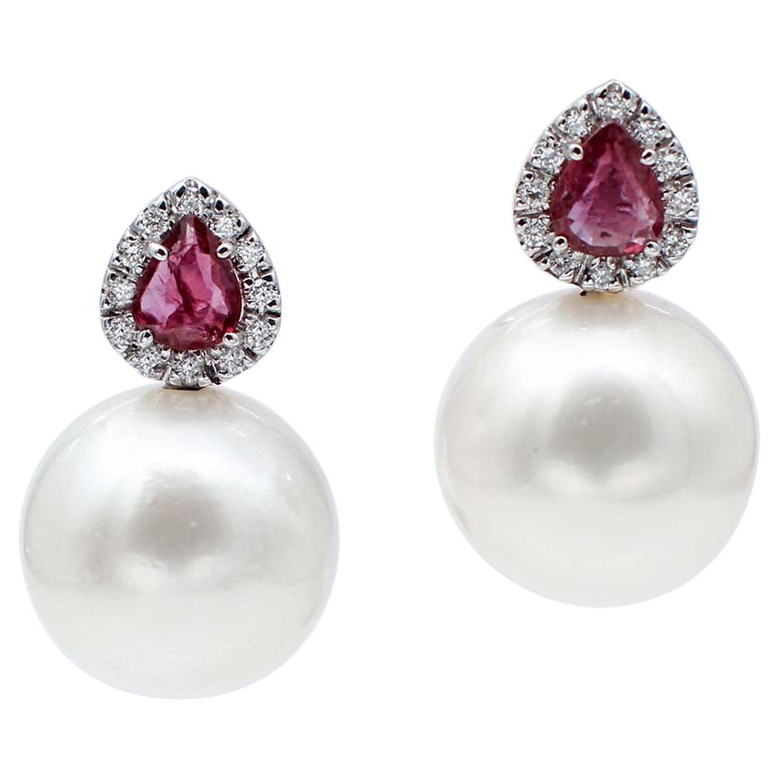 Rubies, Diamonds, White Pearls, 14 Karat White Gold Stud Earrings