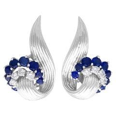 Vintage 2.05ct Sapphire Diamond White Gold Stud Earrings, 1958