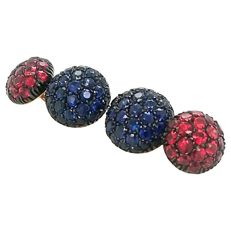 Berca 5.3 Kt Blue Sapphire 3.45Kt Ruby Black Yellow Gold Cufflinks For Sale