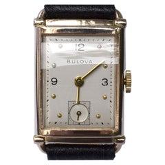 Art Deco Bulova Gents Wristwatch, 14k Rose Gold Filled, c1946, Fully Serviced