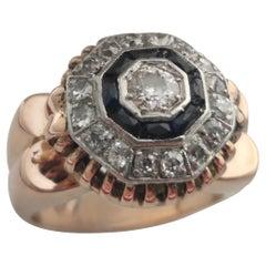 Diamond-Sapphire Ring, ca. 1910