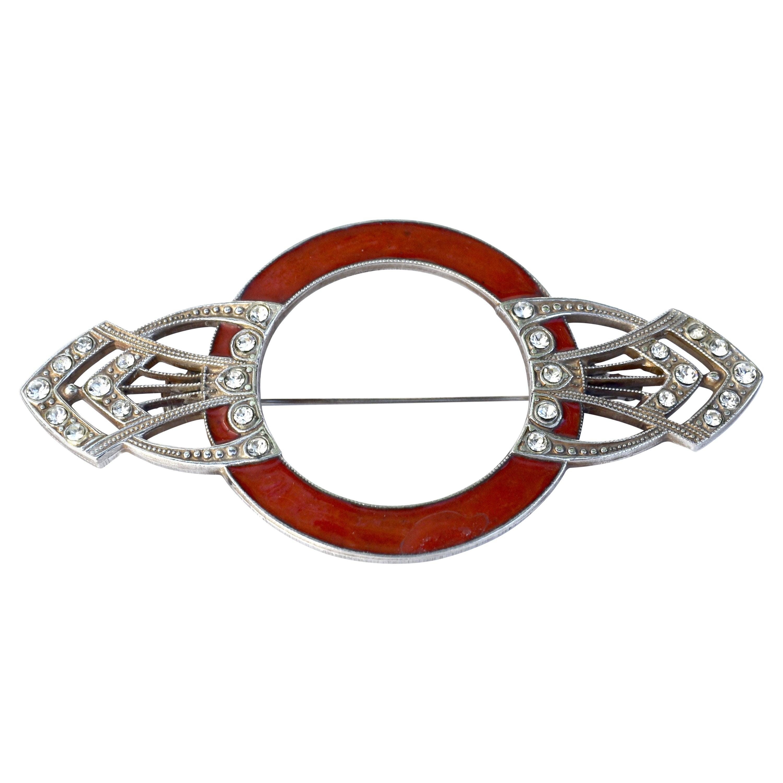 Art Deco Enamel and Diamante Brooch