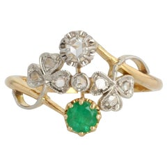 French 1900s Emerald Diamond 18 Karat Yellow Gold You and Me Ring