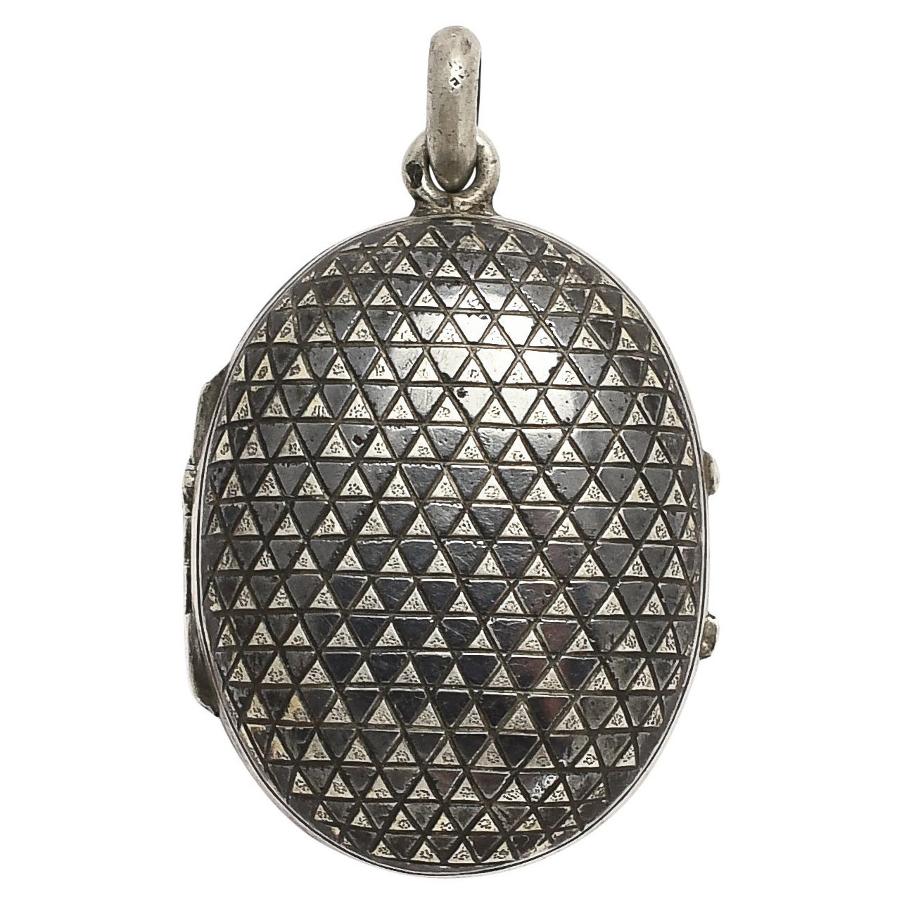 Antique Victorian Niello Silver Triangles Locket Necklace