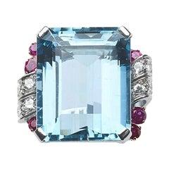 Tiffany & Co. Aquamarine, Ruby and Diamond Ring, Circa 1950