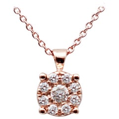 Diamonds, 18 Karat Rose Gold Light Point Pendant Necklace