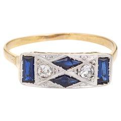 Vintage Art Deco Diamond Lab Sapphire Ring 18k Gold Platinum Band Fine Jewelry