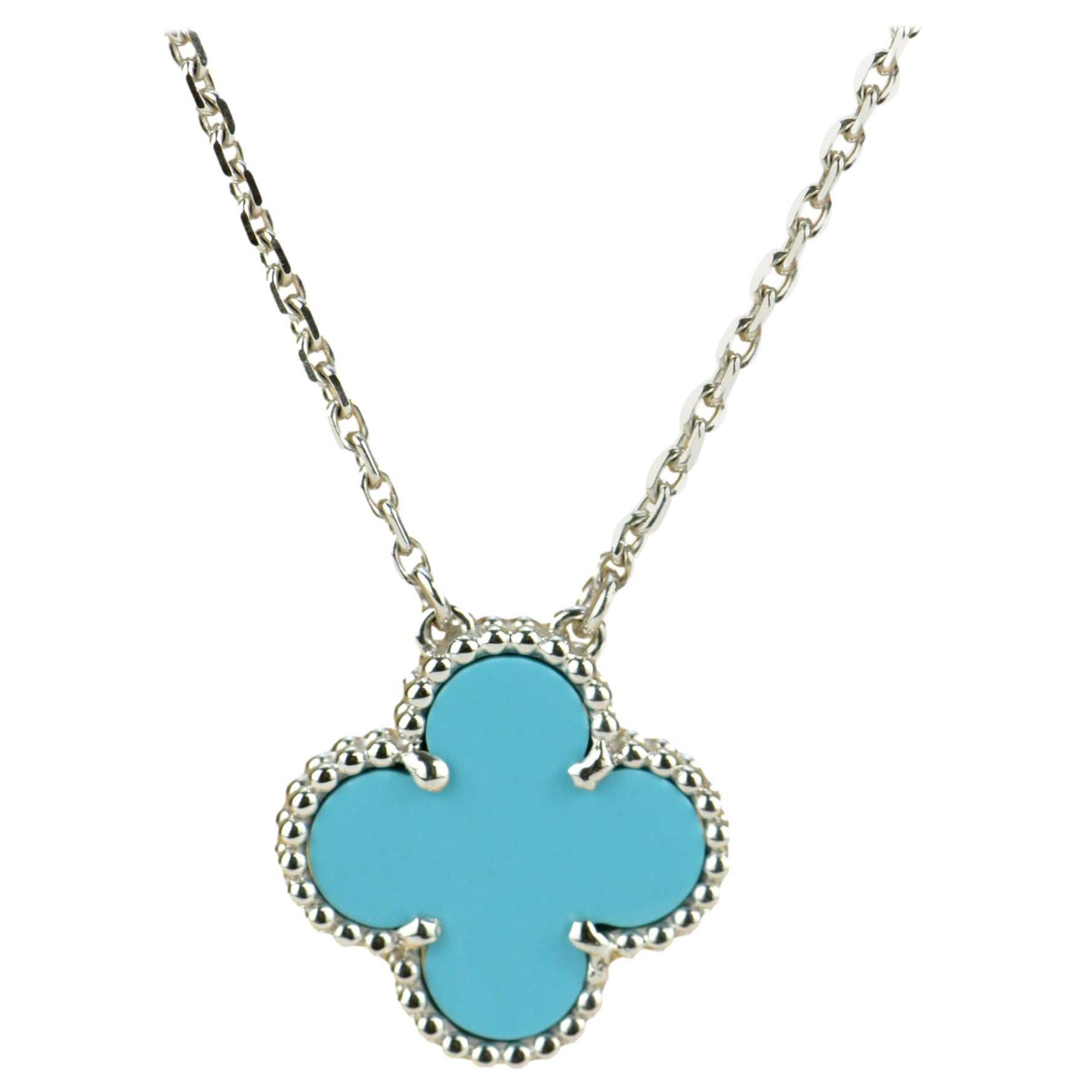 Van Cleef & Arpels Vintage Turquoise Alhambra Pendant Necklace