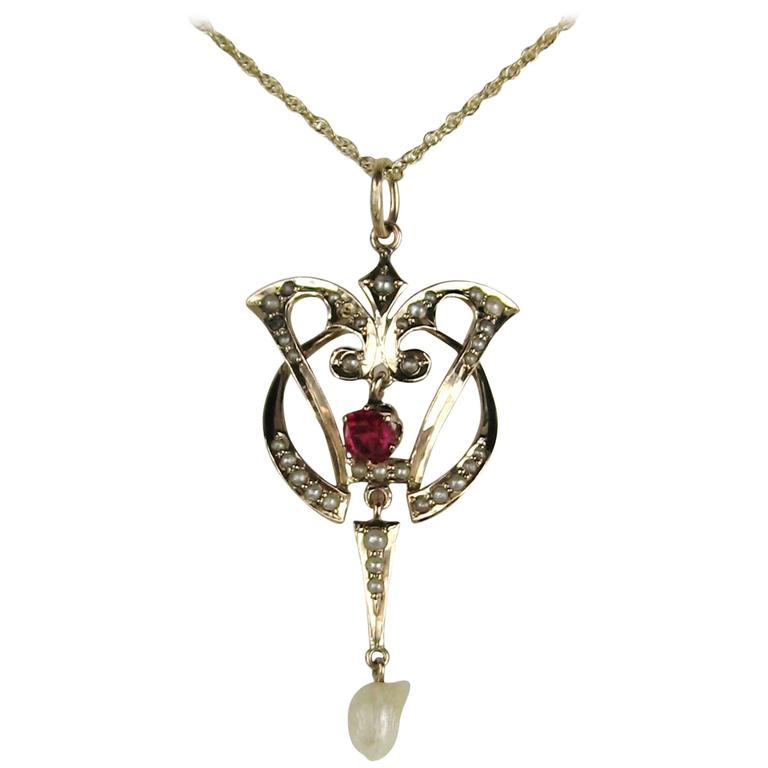 Antique Victorian Seed Pearl Ruby Gold Lavalier Pendant For Sale