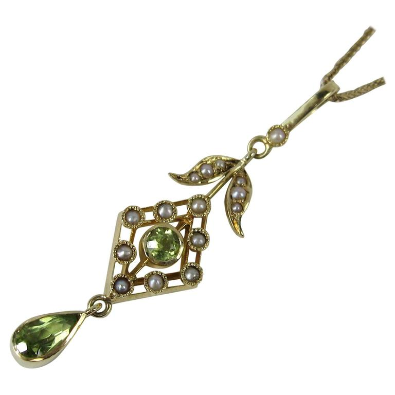 Stunning Gold Peridot Seed Pearl lavalier Necklace  For Sale