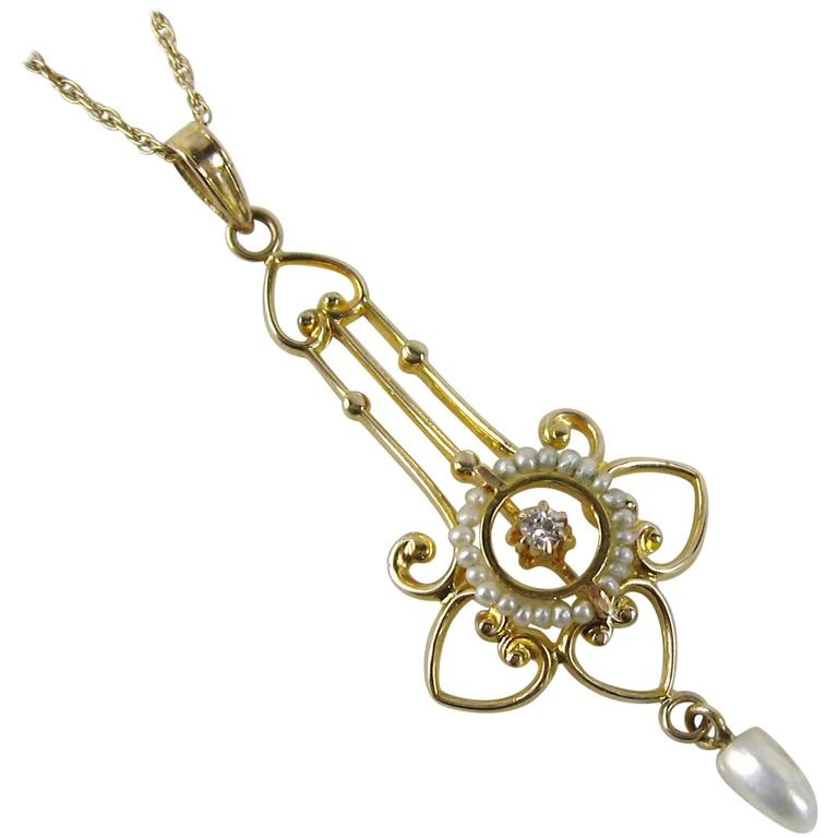 Antique Victorian Delicate Seed Pearl Diamond Gold Lavalier Necklace For Sale