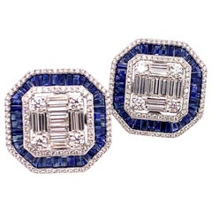 18K White Gold Sapphire and Diamond Vintage Style Earrings