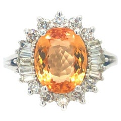 Imperial Golden Topaz and Diamond Halo Cocktail Ring Platinum
