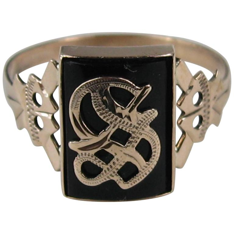 """Victorian Gothic """"S"""" Onyx Gold Initial Ring For Sale"""