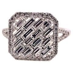 18k White Gold Diamond Baguette Geometrical Ring