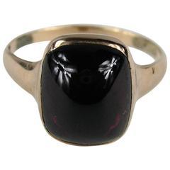 1860s Stunning Antique Victorian Rose Gold Cabochon Garnet Ring
